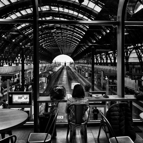 Central station Waiting For A Train Luggage Trolleys Train Station Departure Indoors  Built Structure Day Architecture Incidental People Ceiling Glass - Material Public Transportation Real People Seat
