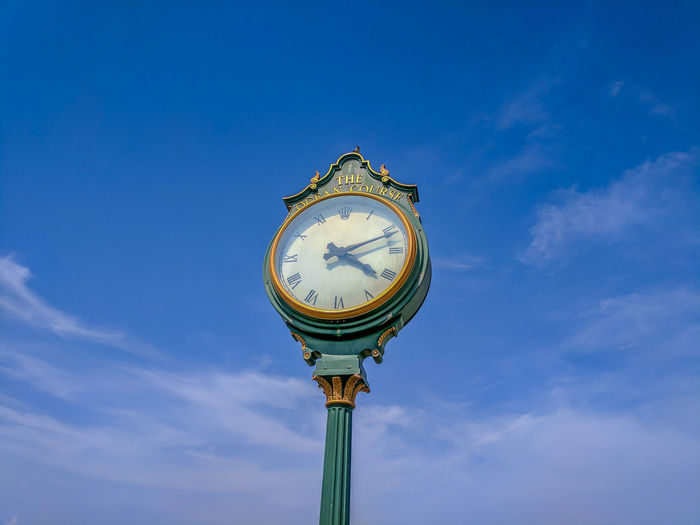 [Big Green] Blue Time Sky Clock Outdoors Low Angle View No People Clock Face Day Minute Hand Close-up Roman Numeral Cloudscape Kiawah Island EyeEmNewHere