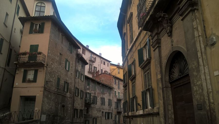 Low angle view of buildings in town