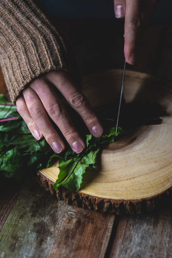 Close-up of hand holding cutting board