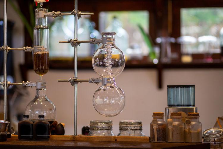 Laboratory glass straws in a coffee shop beverage shop