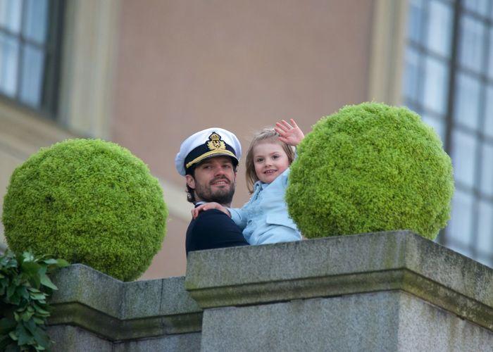 70 Years Old April 30, 2016 At The Balcony Celebrating H.K.H. Prince Carl Philip H.K.H. Princess Estelle H.M. King Carl XVI Gustaf Outdoor Royal Family Sweden Stockholm, Sweden