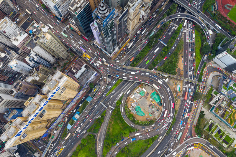 Aerial view of elevated roads