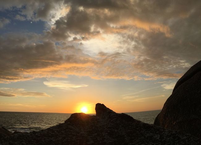 Stone Rock - Object Blue Sky, White Clouds Sea View Wave Radius Sea Sunset Water Sky Beauty In Nature Horizon Over Water Nature Scenics Tranquil Scene Idyllic Sun Sunlight Cloud - Sky Outdoors No People Tranquility Sand