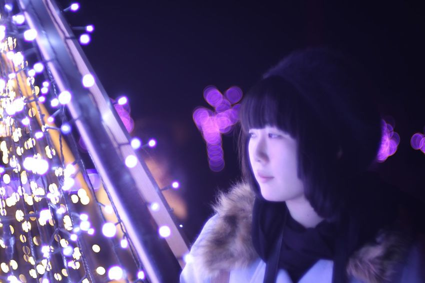 Languorous. Night Lights Illuminated Fukui Japan Canon5Dmk3 Meyer-Optik-Görlitz Trioplan100 Bokehlicious Soapbubblebokeh Portrait