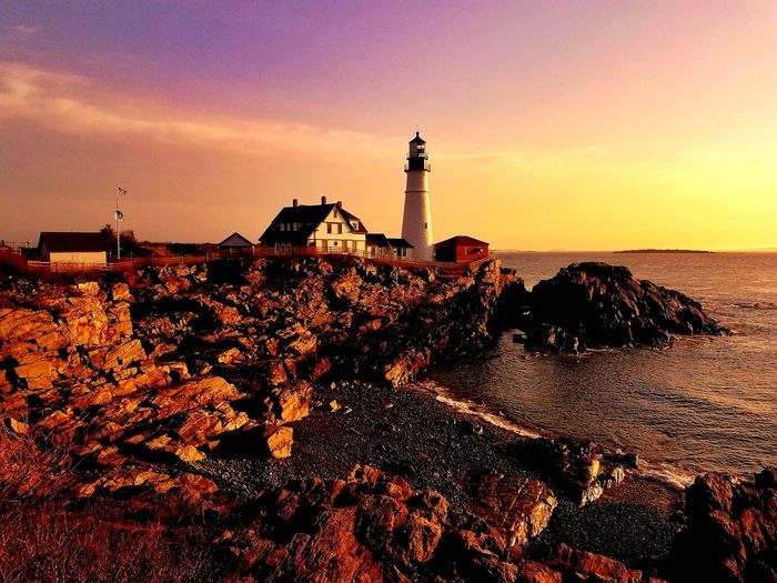 Sunset Silhouette Lighthouse Sea Beach No People Sky Travel Destinations Outdoors Water Day Horizon Over Water Nature Portland Maine EyeEm Best Shots - Nature EyeEm Best Shots New England