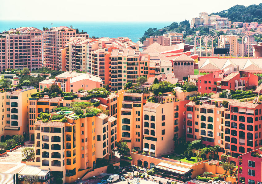 View of Fontvieille. Principality of Monaco Bright Colors City Cityscape Mediterranean Sea Monaco Aerial View Building Exterior Built Structure Colorful Europe Fontvieille Hillside Landmark Landscape Luxury Mountain Outdoors Principality Of Monaco Residential Building Scenery Sea Sunny Day Tourist Resort Travel Destinations Urban Landscape