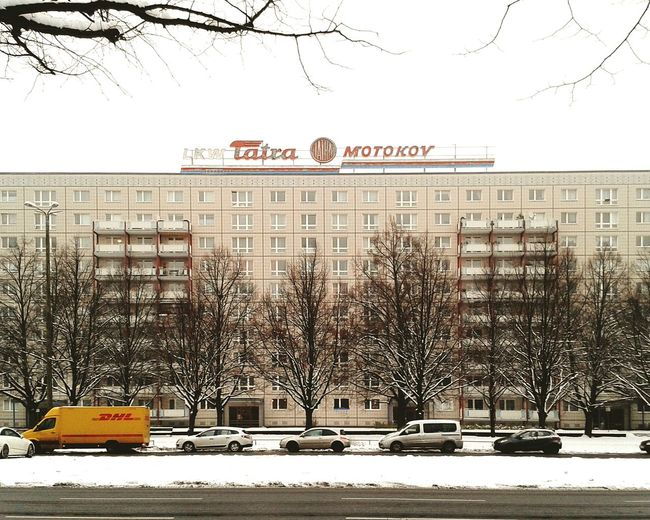 LKW Enterprise on Karl Marx Allee Berlin. Stroll in the Snow on one of the last days of 2014. Plattenbau DDR Motokov