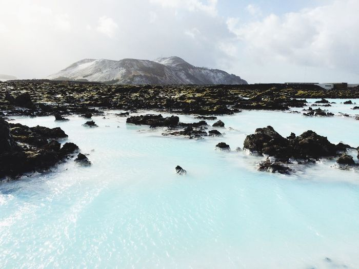 Scenic view of blue lagoon