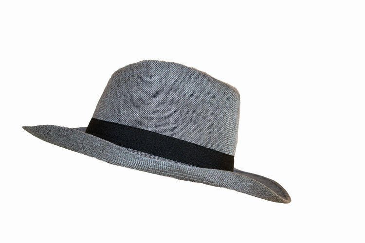 High angle view of hat against white background