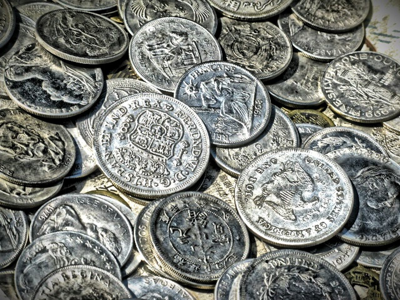 wealth, coin, finance, metal, currency, still life, silver colored, human representation, no people, savings, silver - metal, full frame, large group of objects, close-up, backgrounds, day