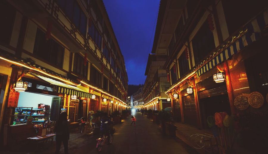 street Illuminated Architecture City Building Exterior Large Group Of People Built Structure Street Person Walking City Life Dusk Men Night Lifestyles Transportation City Street The Way Forward Sky Tourism Outdoors Cangnan Wenzhou