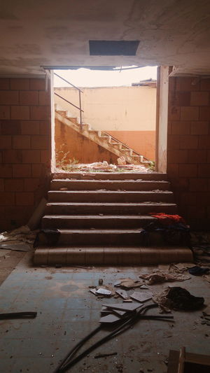 Interior stairs Absence Architecture Bad Condition Brick Wall Building Built Structure Damaged Day Deterioration Empty Interior Messy No People Obsolete Old Ruined Run-down Stairs Steps The Way Forward