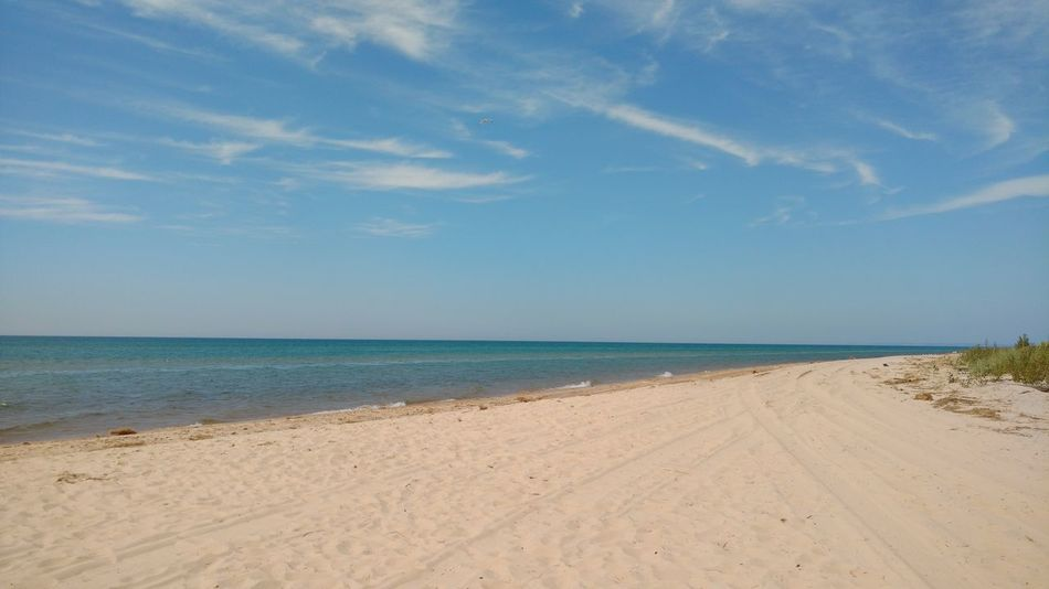 Beach Blue Calm Cloud Day Horizon Over Water Nature Sand Shore Silver Lake Mi Sky Summer Tranquility Water