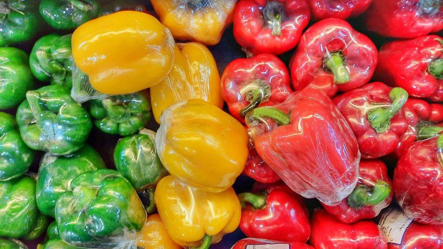 Full frame shot of bell peppers at market