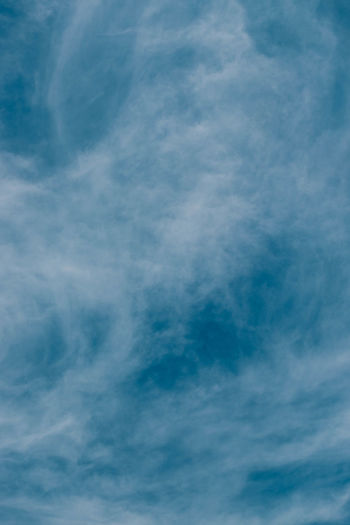 A contrasty blue cloudy sky photographed during the Summer day. Backgrounds Beauty In Nature Blue Cloud - Sky Full Frame Meteorology Nature No People Outdoors Scenics - Nature Sky Tranquil Scene Tranquility