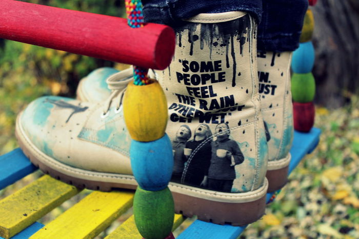 Boot Close-up Colorfull Outdoors Shoes Swing Text