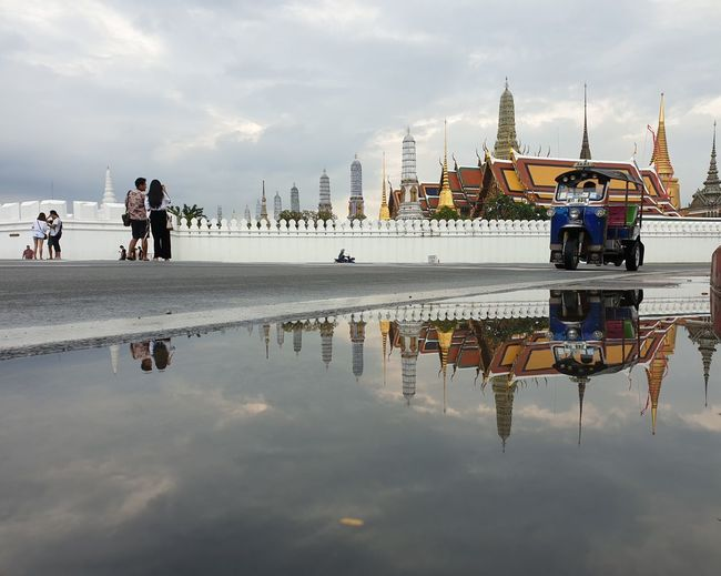Temple of the Emerald Buddha, Thailand Landmark Tourist Tourism Thailand Bangkok Water Reflection Sky Built Structure Architecture Cloud - Sky Building Exterior Group Of People Travel Travel Destinations Outdoors Day Building Religion Belief City
