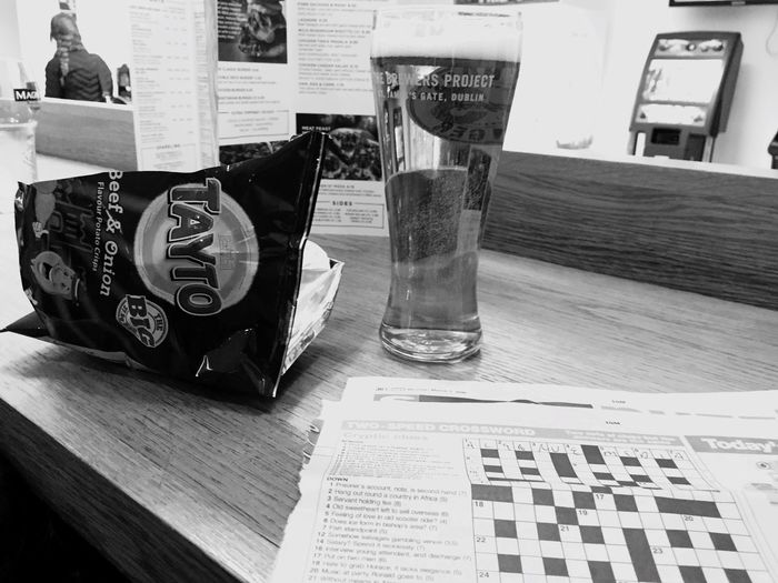 Airport Lounge Local Beer Crossword Tayto Crisps Delayed Northern Ireland Belfast Aldergrove Airport Travelling Home