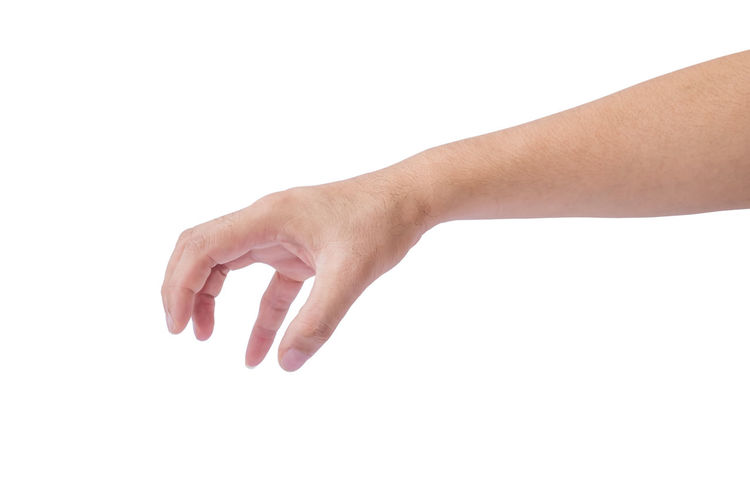 Male hand clipping path on white background Isolated Hands White Background Holding Arm Concept Gestures Close Up Caucasian Collection People person Bottle Symbol Adult Human Hand Body Part Communication Fingers Clipping Path Pushing Thumbs Signal Gesturing