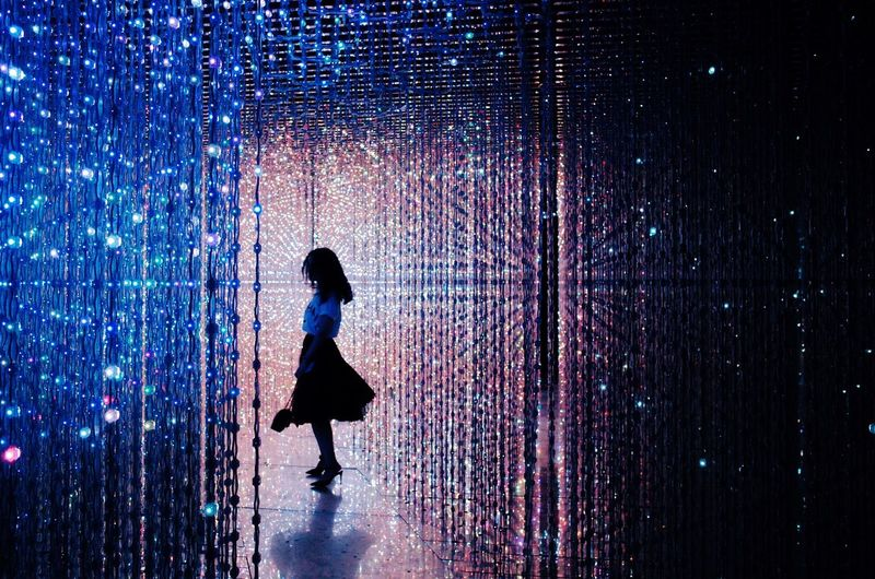 Full Length Silhouette One Person Real People Pattern Water Standing Night Women Men Indoors  People Adult Only Women Adults Only Pixelated Colors Galaxy Light Lights Show Art TeamLab Crystal Fantasy
