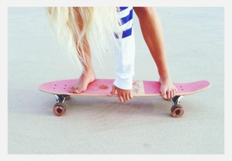 Girl Skateboarding Blonde Pink