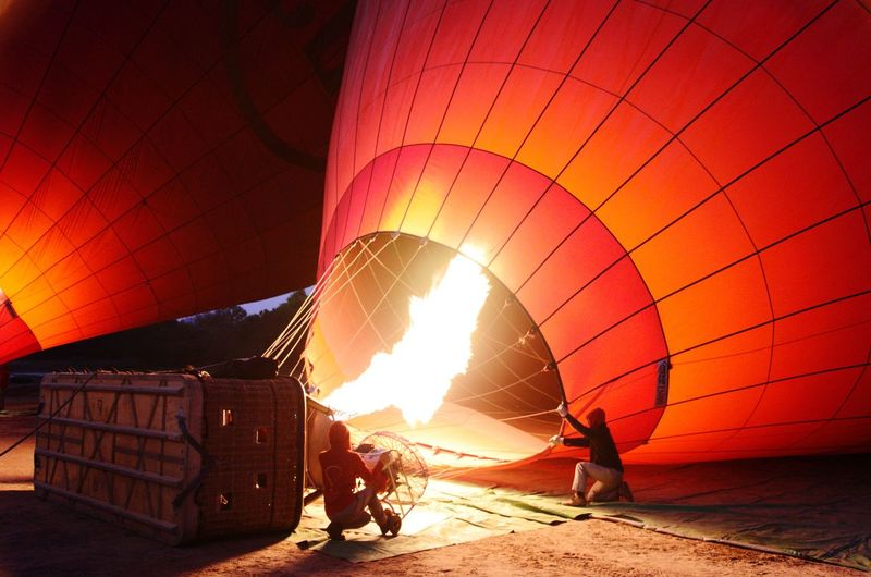 Balloon Ride over Bagan Ballooon Fly Heat - Temperature Flame Hot Air Balloon Burning Sunlight People Red Vacations Adventure