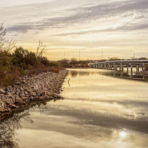 Early Morning at the Lake Lakes  Granbury Bridges Texas sunrise latergram