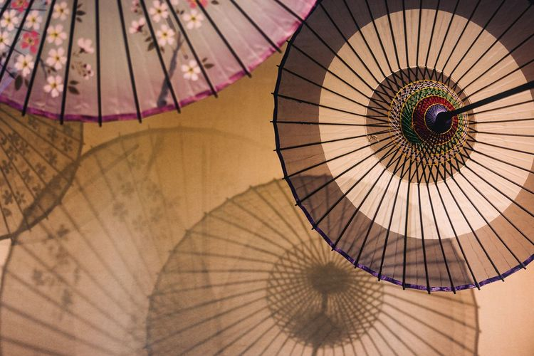 Low angle view of multi colored japanese umbrella