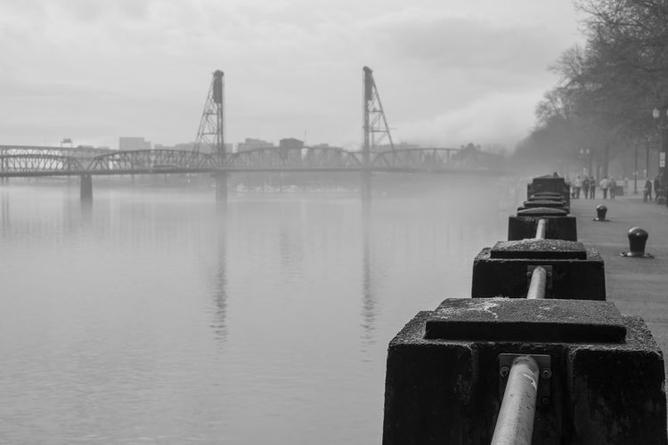 Water Architecture Sky Built Structure Nature Day No People Connection Bridge Transportation River Outdoors Bridge - Man Made Structure Fog Post Scenics - Nature Tranquility Pier