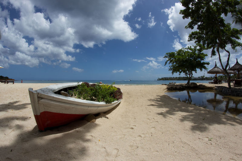 Beach Beachlife Beauty In Nature Bestplace Boat Cloud - Sky Fisheye Landscape Mauritius Nature No People Palms Photography Plants Sand Sand & Sea Sea Sky Water