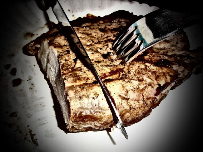 STEAK 080616 Brown Burnt Chrome Close Up Close-up Cook  Cut Day Deterioration Eating Focus On Foreground Food Fork Home Hungry Knife Meat No People Plate Resturant Selective Focus Stab Steaks Still Life Utensils