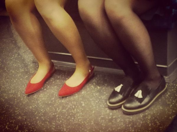 Saturday night outing Low Section Human Leg Indoors  Adults Only Real People Human Body Part Lifestyles Adult One Person Women Men People Only Women Close-up Day Shoes Red Black