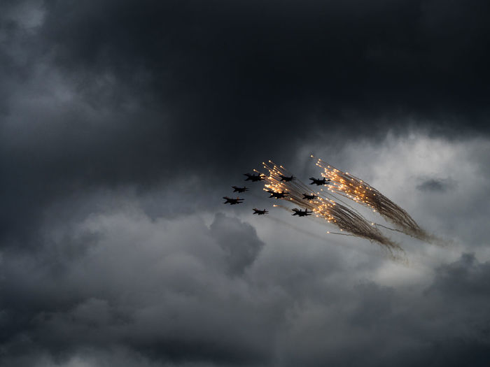 Russia, Moscow, Airshow, parade in honor of victory day over Germany, Knights Airshow Beauty In Nature Cloud Cloud - Sky Cloudy Day Growth Idyllic Knights Low Angle View Nature No People Outdoors Overcast Russia Scenics Sky Tranquil Scene Tranquility Weather