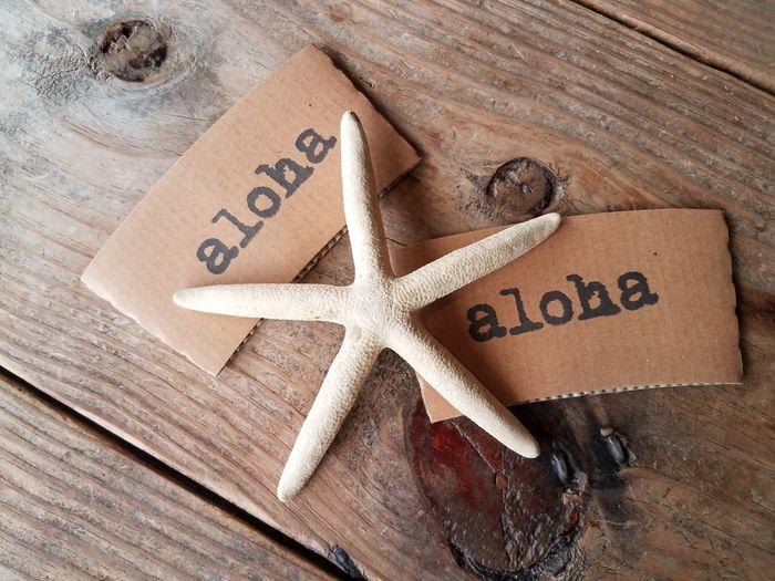 Living Aloha Beautiful Love ♥ Alohastate Aloha Spirit 808state Kailua, Oahu Hawaii Life Communication Alphabet Wood - Material Single Word Message Text High Angle View Handwriting  Western Script Close-up Starfish  Star Shape