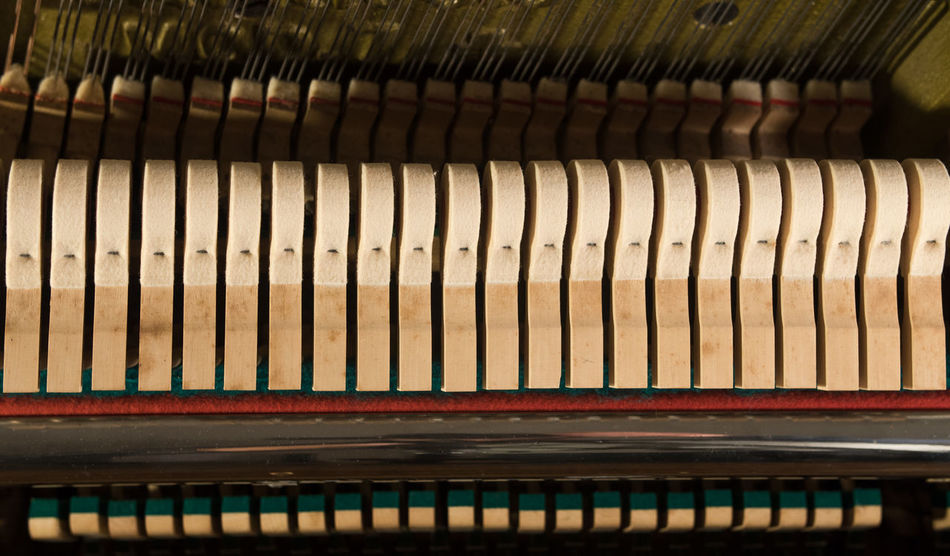 Piano hammers - mechanics inside an old piano Macro Photography Piano Piano Moments Close-up Damper Day Detail Hammers In Order Indoors  Musical Instrument No People Old Piano Piano Details Row Row Of Things Structure Traditional Vintage