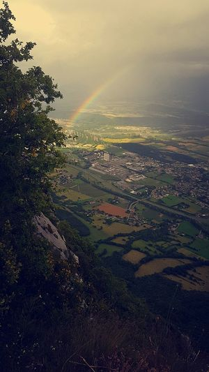 Aerial View Tree Nature Beauty In Nature Day Sky Sky Photography Rainbow Colors Rainbowsky Picofthemoment Beauty In Nature Naturelovers Nature_perfection Grenoble Nice No People Viewpoint Green Nature
