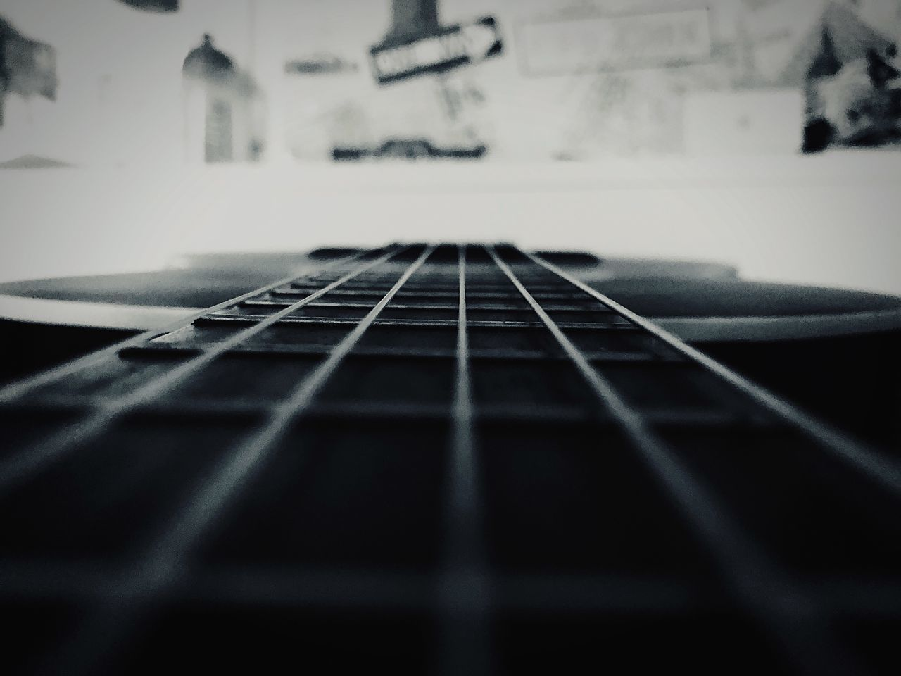 CLOSE-UP OF GUITAR ON STAGE