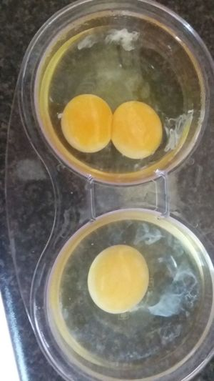 Double Yolk Egg Poacher Eggs Food Freshness Healthy Eating Serving Size Still Life