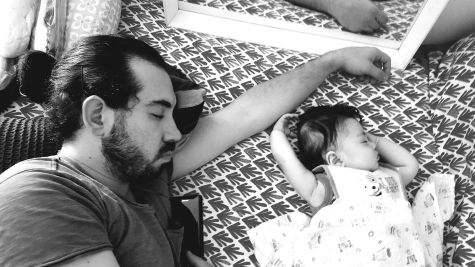 RePicture Masculinity catching z's. Father & Son Sleeping Baby Father Fatherhood  Father And Son Family Black And White