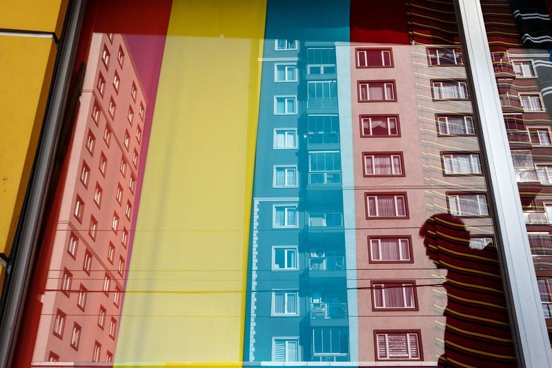 Low angle view of multi colored building