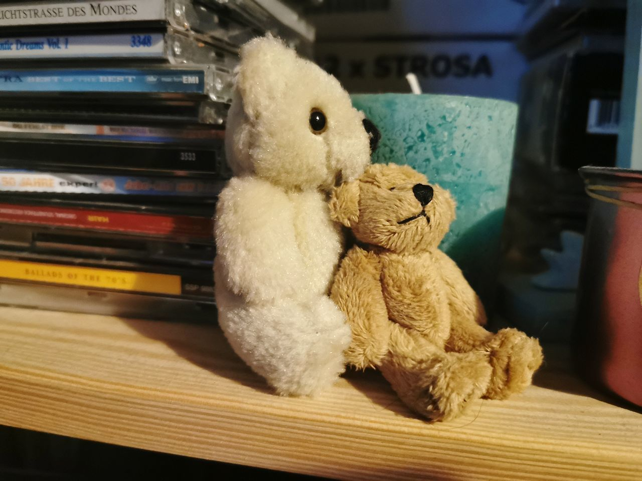 CLOSE-UP OF STUFFED TOY ON BOOK AT HOME
