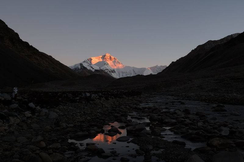 Himalayas Trekking Sunset Mountain Reflection Mounteverest