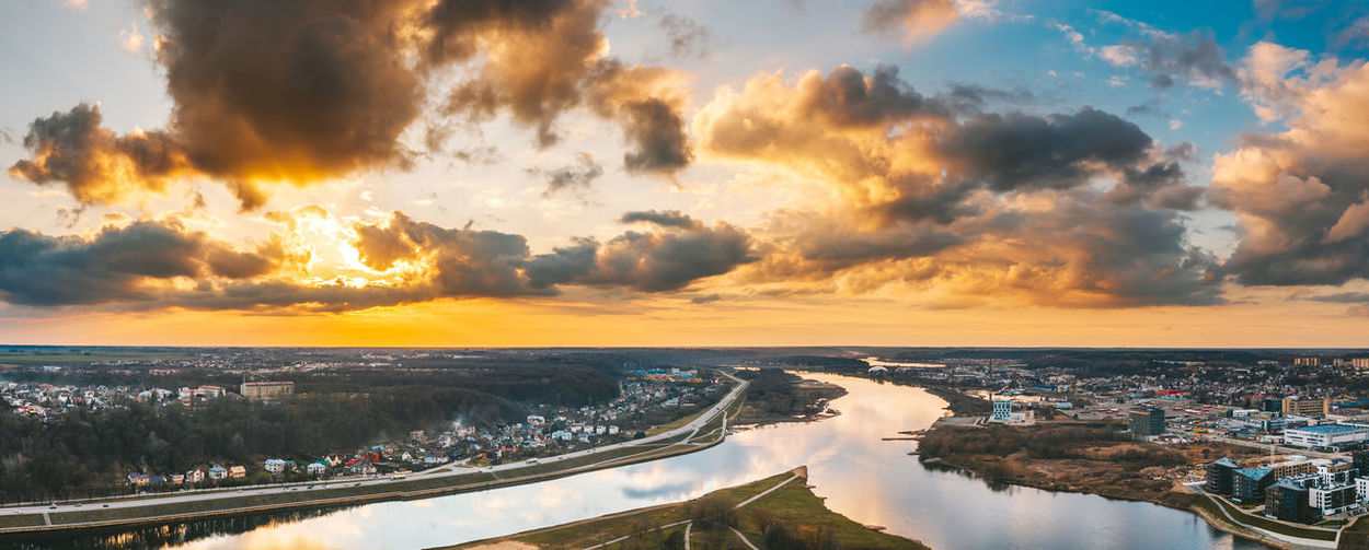 Panoramic view of river against cloudy sky