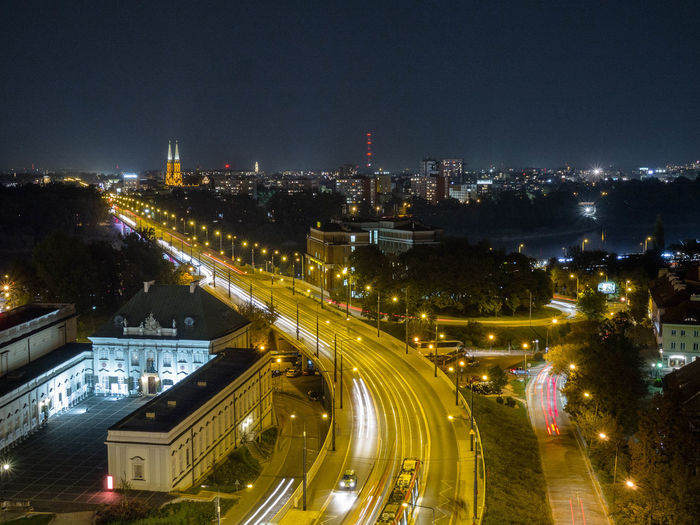 Poland Polska Warsaw Warsaw Old Town Warsaw Poland Warsaw Nights Warszawa  Architecture Building Building Exterior Built Structure Capital Capital Cities  City Cityscape High Angle View Illuminated Long Exposure Night No People Office Building Exterior Poland 💗 Sky Street Transportation