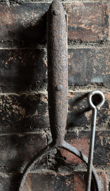 Brick Wall Close-up Iron Metal Old Pitchfork Pitted Metal Poker Rusty Strength Tools Weathered