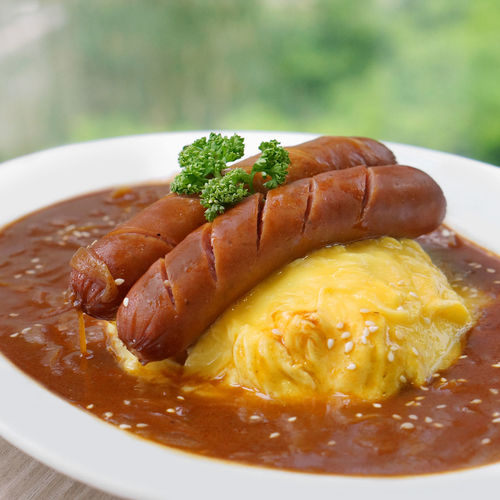 Japanese Curry Omu rice with sausage Curry Japanese Curry Omurice Bokeh Close-up Focus On Foreground Food Food And Drink Food Photography Meat No People Plate Sausage Dog