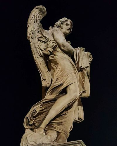 History Religion Angel Statue Black Background Sculpture Ancient Civilization No People Rome Italy🇮🇹 Santangelo
