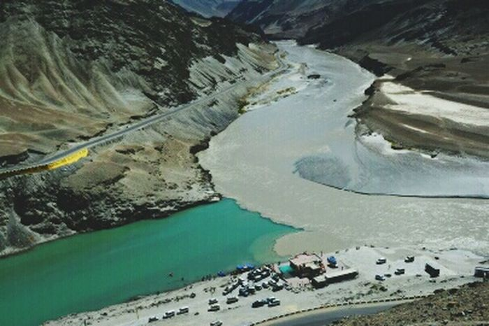 Zanskar River Indus River Riverconfluence Water Mountain Hot Spring Aerial View High Angle View Landscape Sky Physical Geography Rocky Mountains