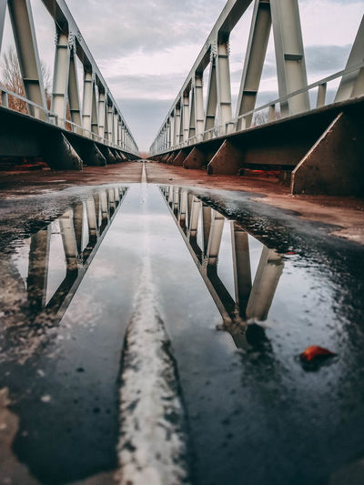 Reflection of bridge in water
